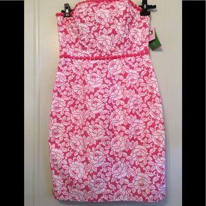 NWT Lily Pulitzer Strapless Pink Jeweled Dress 8
